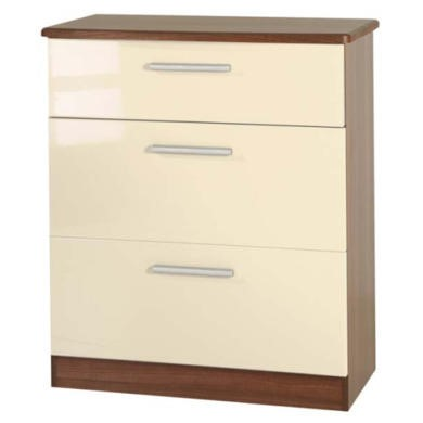 Welcome Furniture Hatherley High Gloss 3 Drawer Chest in Walnut and Cream