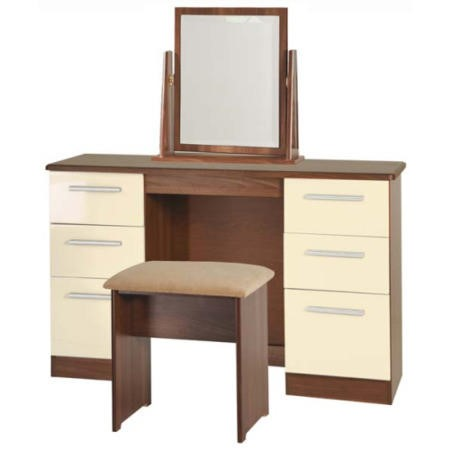 4c2acf7b1d1e Welcome Furniture Hatherley High Gloss Large Dressing Table in Walnut and  Cream FOL064915