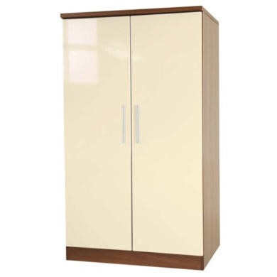 Welcome Furniture Hatherley High Gloss 2 Door Low Wardrobe in Walnut and Cream