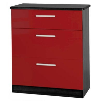 Welcome Furniture Hatherley High Gloss 3 Drawer Chest in Black and Red