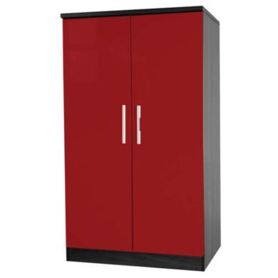Welcome Furniture Hatherley High Gloss 2 Door Low Wardrobe in Black and Red