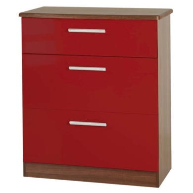 Welcome Furniture Hatherley High Gloss 3 Drawer Chest in Walnut and Red