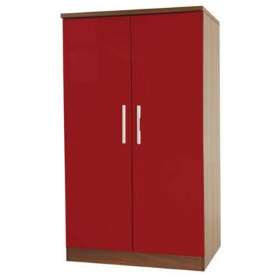 Welcome Furniture Hatherley High Gloss 2 Door Low Wardrobe in Walnut and Red