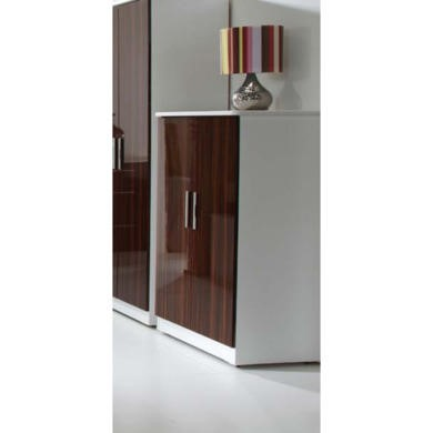 Welcome Furniture Hatherley High Gloss 2 Door Low Wardrobe in White and Ebony