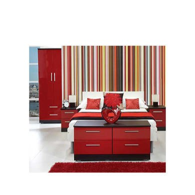 Home Hatherley High Gloss 4 Piece Bedroom Set In Black And Red