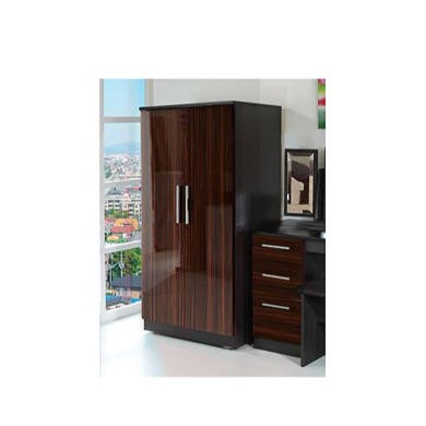 Welcome Furniture Hatherley High Gloss 2 Door Low Wardrobe in Black and Ebony