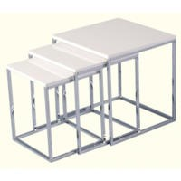 Seconique Charisma High Gloss Square Nest of Tables in White