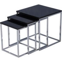 Seconique Charisma High Gloss Square Nest of Tables in Black