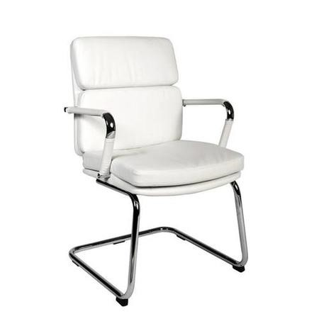 Teknik Office Deco White Faux Leather Visitors Chair