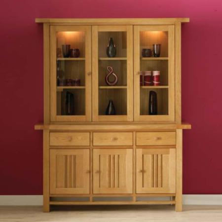 Morris Furniture Artisan Solid Oak Glazed Triple Display