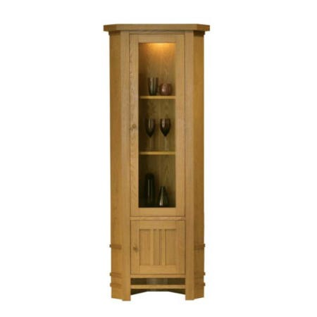 Morris Furniture Artisan Solid Oak Glazed Corner Display