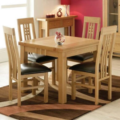 Morris Furniture Artisan Solid Oak Square Extending Dining Set with Slat Back Chairs