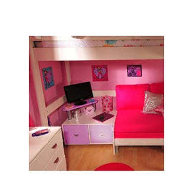 Stompa Combo Kids White 2 Door TV Unit in Lilac