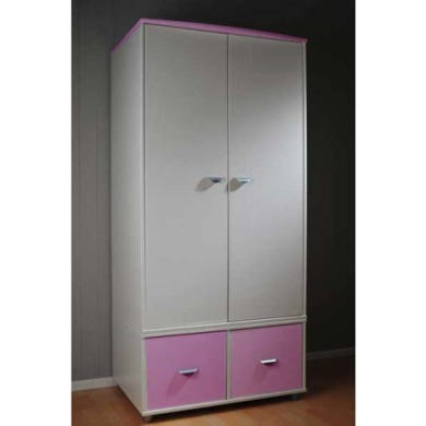 Stompa Combo Kids White 2 Door 2 Cube Wardrobe in Lilac
