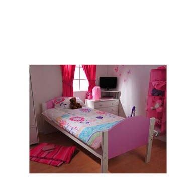 Stompa Solo Kids White Single Bed Frame in Lilac