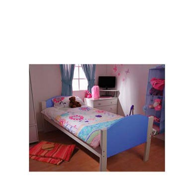 Stompa Solo Kids White Single Bed Frame in Blue
