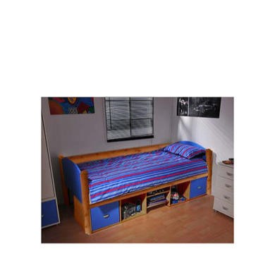 Stompa solo Kids Natural Storage Single Bed Frame in Blue