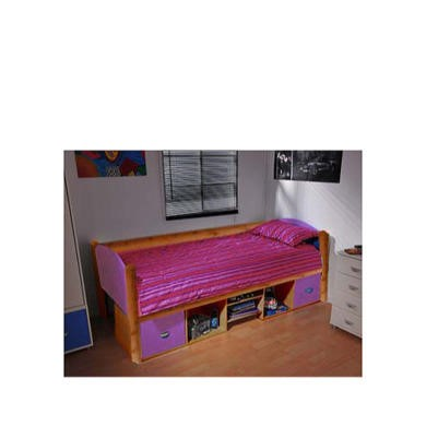 Stompa Solo Kids Natural Storage Single Bed Frame in Lilac