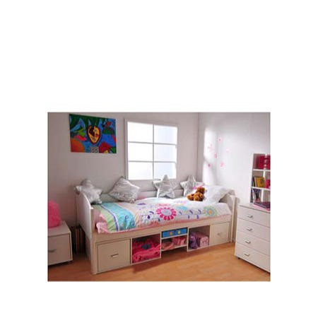 Stompa Solo Kids White Storage Single Bed Frame