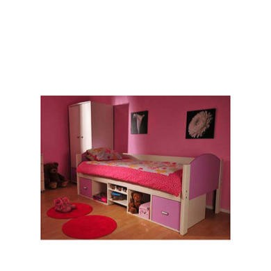 Stompa Solo Kids White Storage Single Bed Frame in Lilac