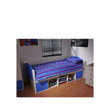 Stompa solo kids white storage single bed frame in blue for Kids white bed frame