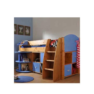 Stompa Combo Kids Natural Midsleeper Bed in Blue with Desk and Double Storage