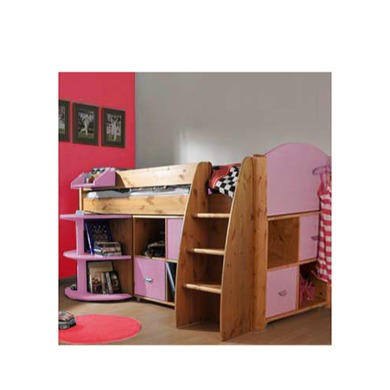 Stompa Combo Kids Natural Midsleeper Bed in Lilac with Desk and Double Storage