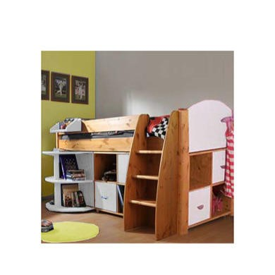 Stompa Rondo Kids Natural Midsleeper Bed in White with Desk and Double Storage