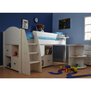Stompa Rondo Kids White Midsleeper Bed with Desk and Double Storage
