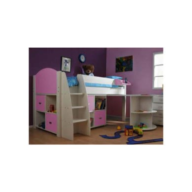 Stompa Rondo Kids White Midsleeper Bed in Lilac with Desk and Double Storage