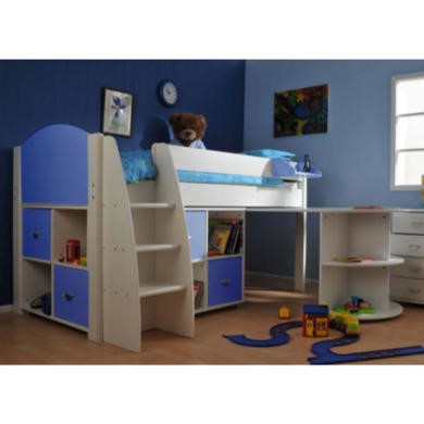 Stompa Rondo Kids White Midsleeper Bed in Blue with Desk and Double Storage