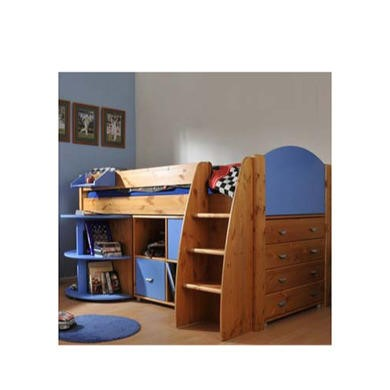 Stompa Rondo Kids Natural Midsleeper Bed in Blue with Desk Chest and Storage