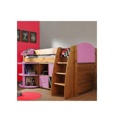 Stompa Rondo Kids Natural Midsleeper Bed in Lilac with Desk Chest and Storage