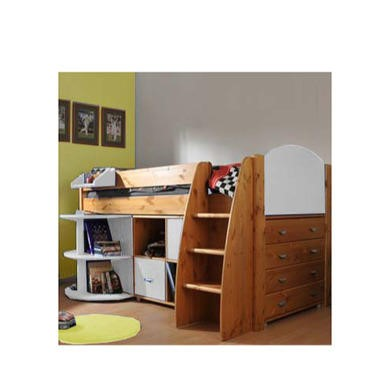 Stompa Rondo Kids Natural Midsleeper Bed in White with Desk Chest and Storage