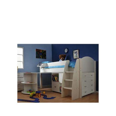 Stompa Combo Kids White Midsleeper Bed with Desk, Chest and Storage