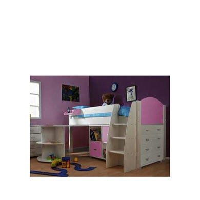 Stompa Rondo Kids White Midsleeper Bed in Lilac with Desk Chest and Storage