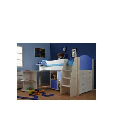 Stompa Rondo Kids White Midsleeper Bed in Blue with Desk Chest and Storage