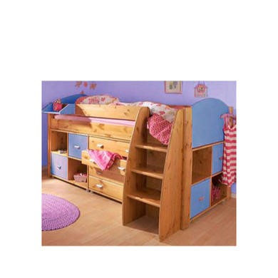 Stompa Combo Kids Natural Midsleeper Bed in Blue with Chest and Double Storage