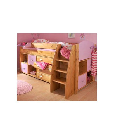 Stompa Rondo Kids Natural Midsleeper Bed in Lilac with Chest and Double Storage