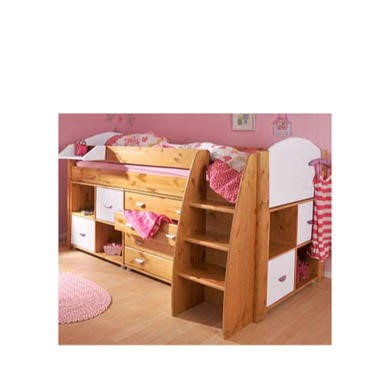 Stompa Combo Kids Natural Midsleeper Bed in White with Chest and Double Storage