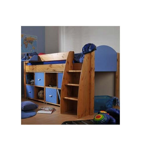 Stompa Rondo Kids Natural Midsleeper Bed In Blue With