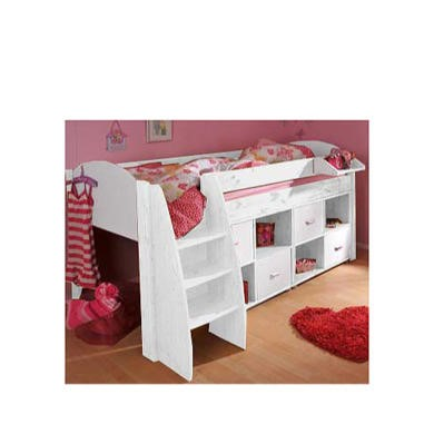 Stompa Rondo Kids White Midsleeper Bed with Double Storage