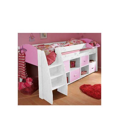 Stompa Rondo Kids White Midsleeper Bed in Lilac with Double Storage