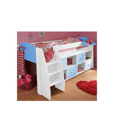 Stompa Rondo Kids White Midsleeper Bed in Blue with Double Storage