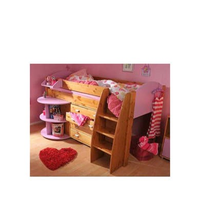 Stompa Rondo Kids Natural Midsleeper Bed in Lilac with Desk and Chest