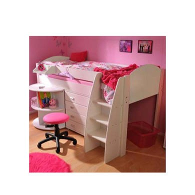 Stompa Rondo Kids White Midsleeper Bed with Desk and Chest