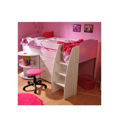 Stompa Rondo Kids White Midsleeper Bed in Lilac with Desk and Chest
