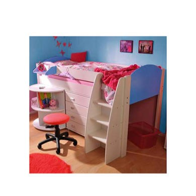 Stompa Rondo Kids White Midsleeper Bed in Blue with Desk and Chest