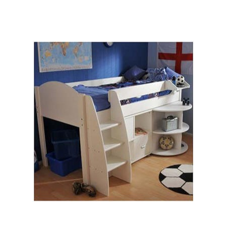 Stompa Rondo Kids White Midsleeper Bed With Desk And