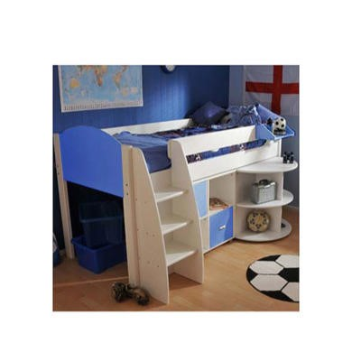 Stompa Rondo Kids White Midsleeper Bed in Blue with Desk and Storage